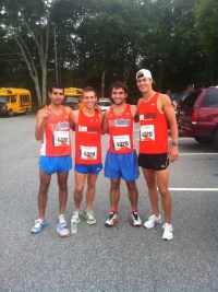 Mike Moverman, Brian Cohen, Myself, and Duncan Payne before the Falmouth Road Race